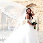 Bride's blowing veil