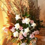 Centerpieces - whites, soft pinks, deep pinks and lots of greenery