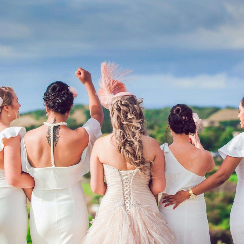 Same color, multiple style bridesmaid gowns